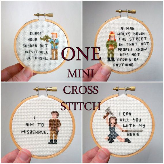 One mini cross stitch -- pixel person cross stitch of your choice, with your choice of saying, from pre-patterned people