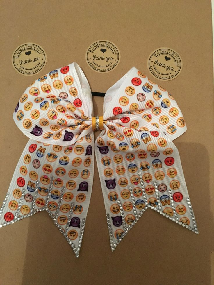 A personal favourite from my Etsy shop https://www.etsy.com/uk/listing/477985741/romany-bling-cheer-bows-emoji