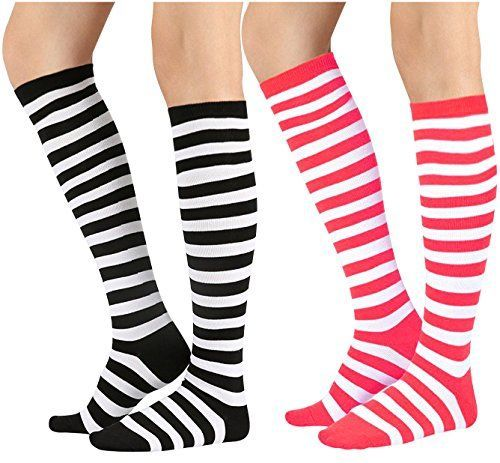 58e48734de910 Chalier 2 Pairs Women Striped Tube Knee Thigh High Socks ... https ...