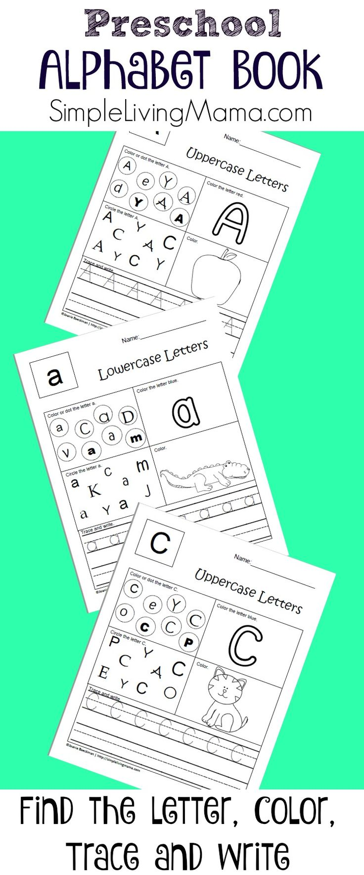 This alphabet notebook for preschool and kindergarten will help your child learn their letters and letter sounds. Do pages per week to last all year!