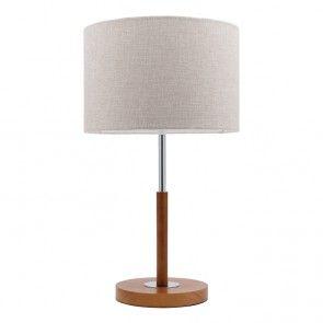 Mercator - Bourke Walnut Wood and Linen Shade Table Lamp