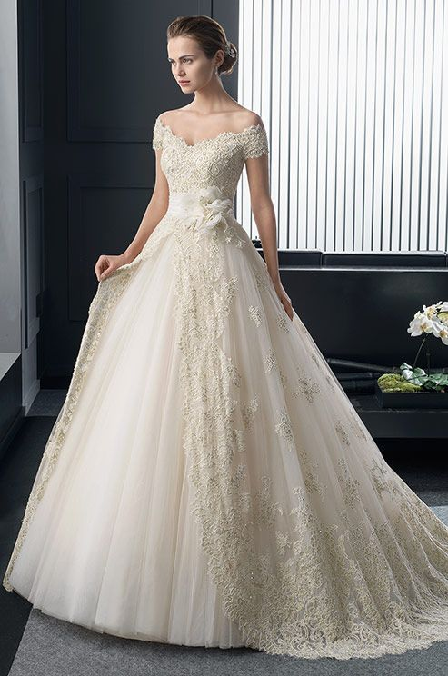 blush color lace ball gown wedding dress! Two by Rosa Clara, 2015