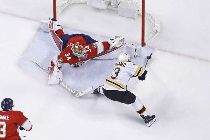 SUNRISE, FL - JANUARY 7: Brad Marchand #63 of the Boston Bruins scores a first period goal past Goaltender James Reimer #34 of the Florida Panthers during first period action at the BB&T Center on January 7, 2017 in Sunrise, Florida. The Bruins defeated the Panthers 4-0. (Photo by Joel Auerbach/Getty Images)