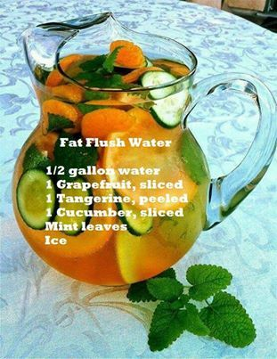 Fat Flush Water  adding grapefruit, your immune system will get a boost from the vitamin C while turning that fat to fuel.  tangerines stabilize blood sugar cucumber is a natural diuretic reduces bloating. mint adds flavor helps digestion. Drink 3 8oa day for best results. Combined with a healthy diet, you'll be drinking your fat away. Take Skinny Fiber too!! https://www.facebook.com/groups/Beingathinnerhealthieryou/  follow me on facebook ~ https://www.facebook.com/carmen.devito9