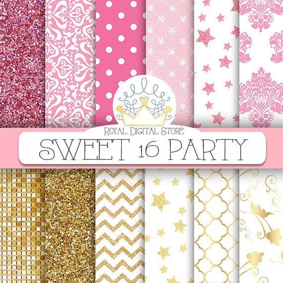 "Pink Gold Digital Paper: "" Sweet 16 Party Digital Paper"" with pink and gold glitter, damask, chevron, stars, quatrefoil, lace backgrounds #pink #gold #damask #glitter #texture #digitalpaper #scrapbookpaper"