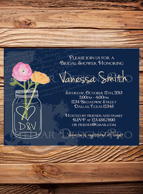 Vintage Mason Jars Bridal Shower Invitation, Flowers Mason Jar, Brown, Navy, Purple, Yellow, Mason Jar Wedding Shower Invitation (6171)