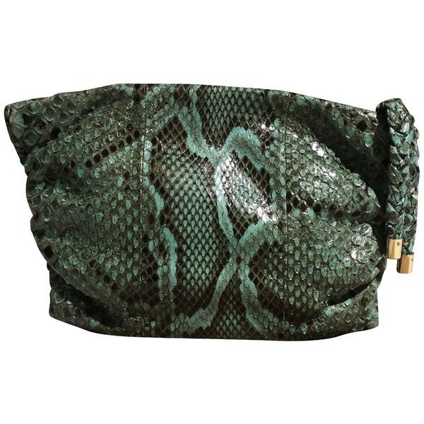 Pre-owned clutch Python Leather (€350) ❤ liked on Polyvore featuring bags, handbags, clutches, turquoise, leather handbags, leather purses, green leather purse, tod's handbag and preowned handbags