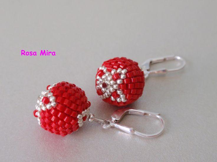 Con perlas y más...: Pendientes rojos
