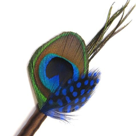 Blue boutineer pin groomsmen feather boutonniere blue by Rationale