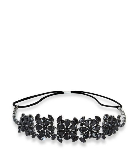 Black Gem Stone Elasticated Headband