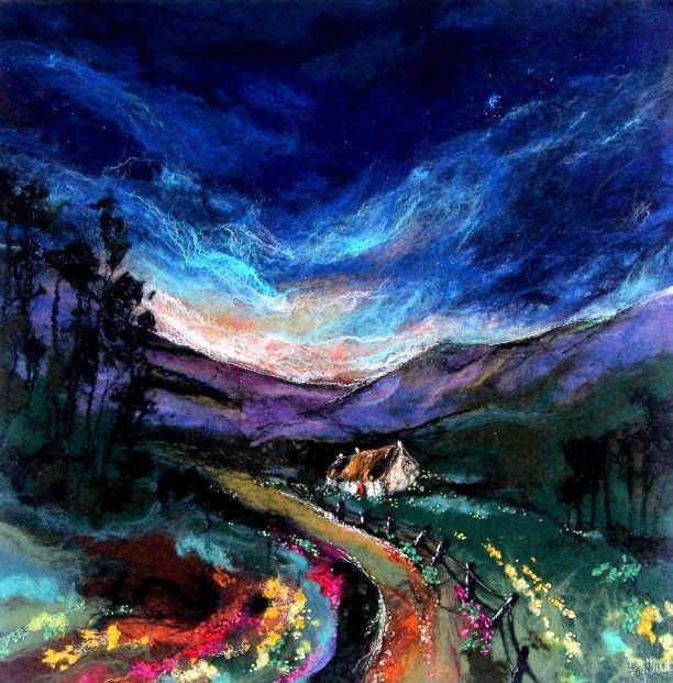 Moy Mackay_To the Glen_Felted Merino_23.5x23.5 | Scottish Contemporary Art