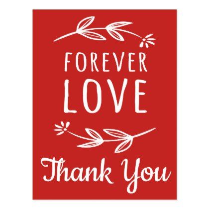 Thank You Red White Love Laurel Leaves Wedding Postcard - floral style flower flowers stylish diy personalize