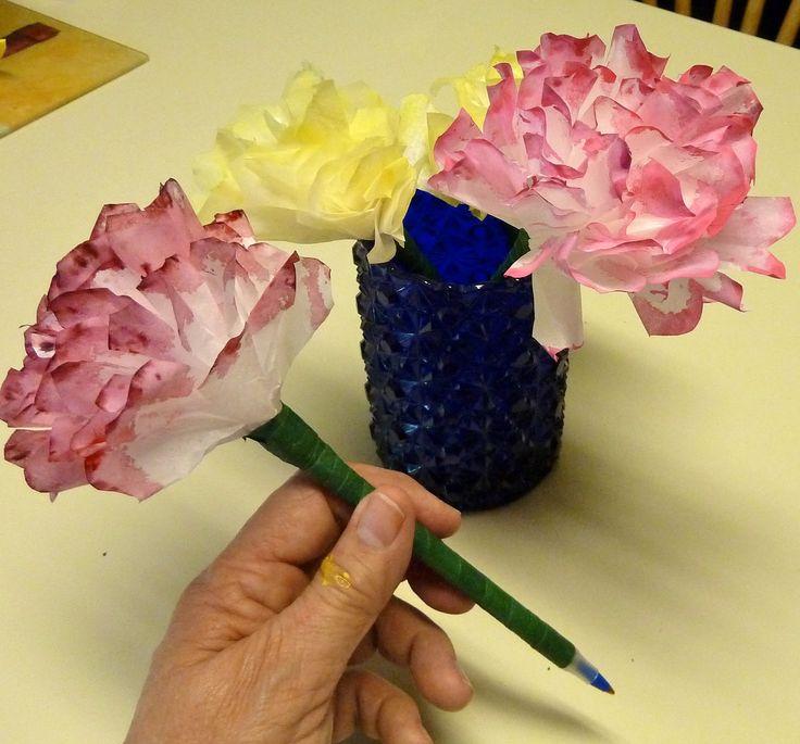 Coffee filter carnation pen