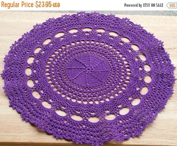 Home decor, crochet table topper, purple handmade doily, crochet doily, wedding decor, crochet centerpiece, round doily, wedding table decor