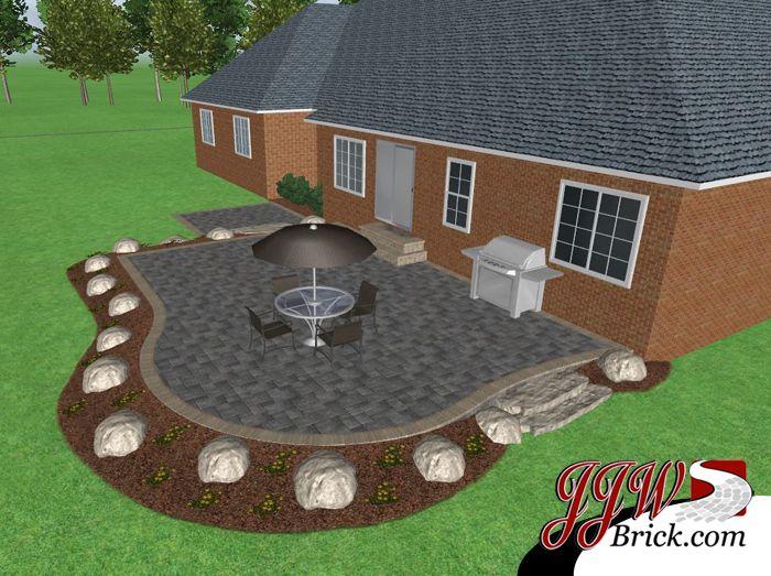 Brick Patio Design With Natural Stone Steps And Fieldstone Boulder Accents.  Go Here U003eu003e