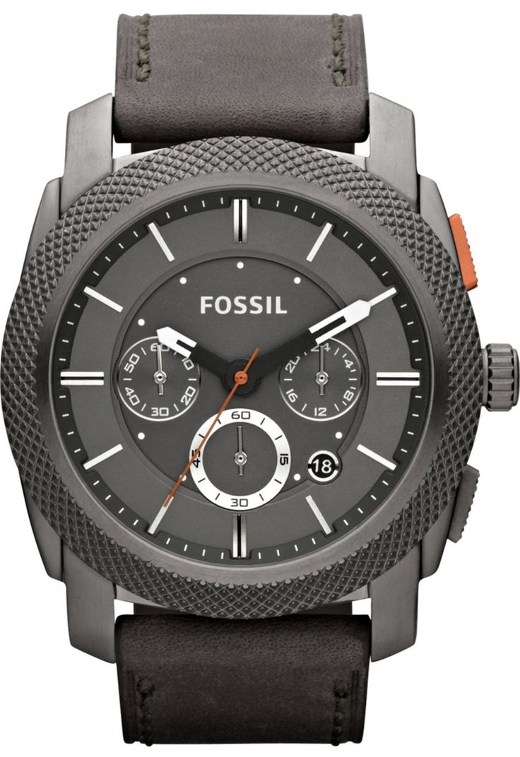 Best leather strap watches men images best ideas about watches for - Fossil Machine Chronograph Leather Watch Iron Grey Fs4777 102 14 Fossil Watch Men