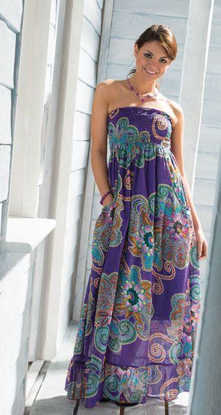Hippy Dress Bohemian Maxi Dress Flower Print Strapless Dress Fair trade by Folio Gothic Hippy D273