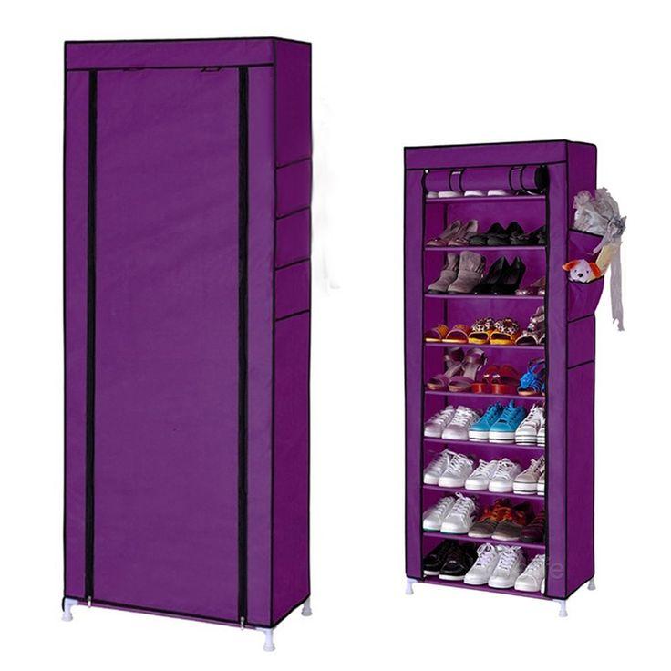 SZS Caliente Casa 10 Capa 9 Pockets Cubierta Organizador Estante Del Gabinete de Almacenamiento En Rack De Zapatos De Rejilla Púrpura