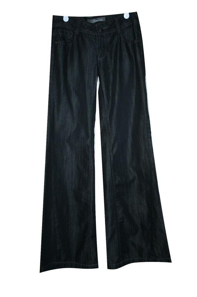 Level 99 Jeans Sz 26 Black Denim Wide Leg Cotton Low Anthropologie Inseam 33 #Level99 #WideLeg