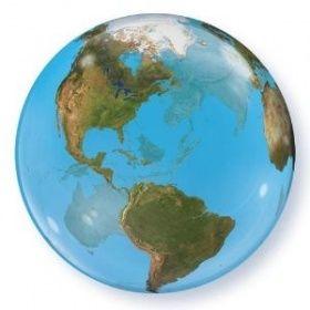 Qualatex Bubbles Ballon Erde Weltkugel Globus | DeCoArt-Ballone-Geschenke-Dekorationen