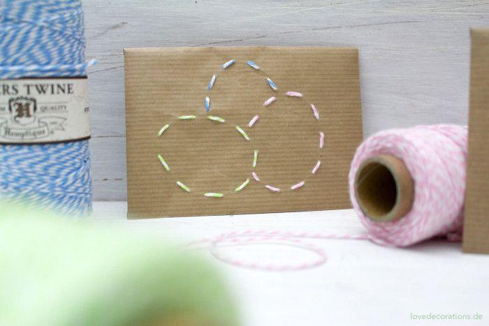 DIY bestickter Briefumschlag mit Ostermotiven // DIY embroidered Envelope with…
