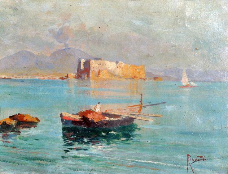 Ricciardi Oscar (Napoli 1864 - 1935) Marina di Napoli olio su cartone cm 19x25,5 firmato in basso a destra: Ricciardi