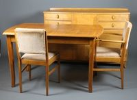 "Lot 170 Gordon Russell, a stylish 1960's dining suite comprising of sideboard with 4 short drawers and 3 cupboard doors on splayed legs 36"" x 55"" x 19"", a set of 6, 2 with arms, dining chairs with drop in sea... £300-500"
