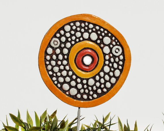 circle garden decor - large - textured ornament - funky gift - garden art - window box decoration - flower bed stake - large love bubble d3