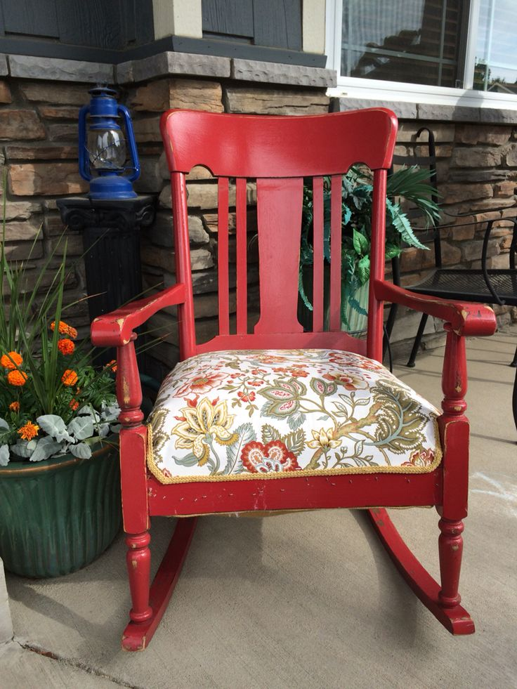 Awesome rocking chair redo with original springs. Follow Eclectic Grey on Facebook. Ft Collins, CO.