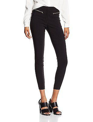 8 (Manufacturer Size:8 Regular), Black, New Look Women's Zip Bengaline Leggings