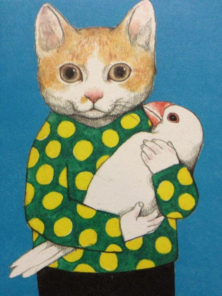 文鳥.in : ボリスの可愛がってることりは…リアルだとこんな感じです。(ヒグチユウコ★50ぴきのねこ展6/18〜30)