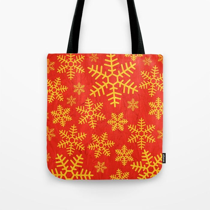 Christmas Snowflakes Tote Bag By Fimbis  Bags, snow, snowflakes, red, gold, festive, xmas, fashion,