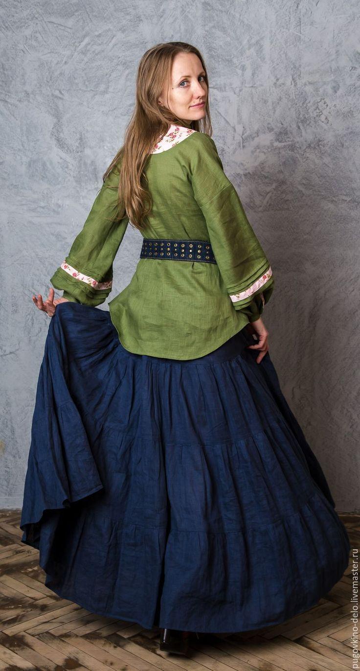 Купить Льняная туника (лесная зелень + мелкие розы) - зеленый, блуза, туника, блузка