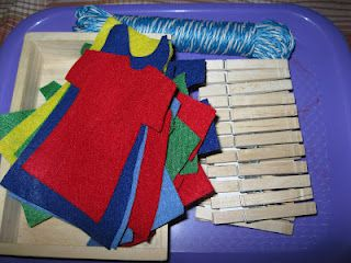 Several Clothing Related Activities - match socks, fold washcloths, & hang felt clothes on a clothesline