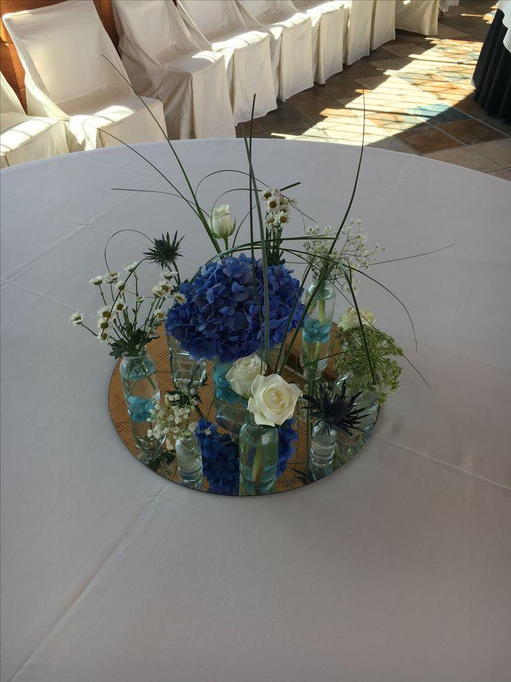#centro de mesa #bodas #azul #hortensia #2017