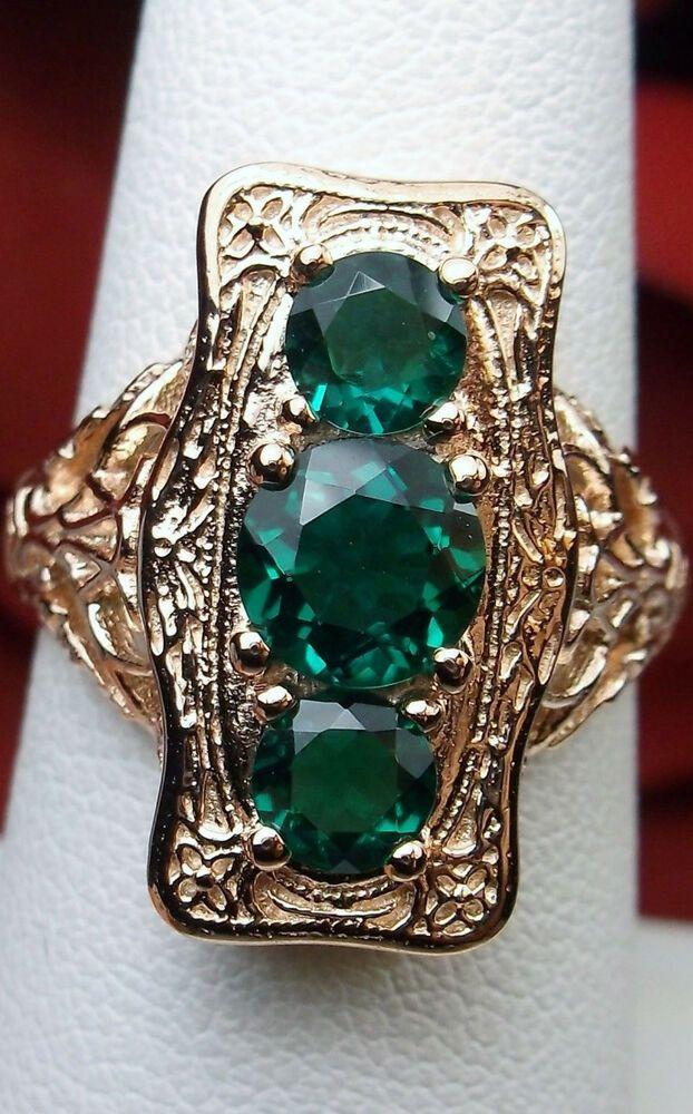 Green Emerald Gemstone 10k Rose Gold Edwardian Filigree Ring Made To Order Silv Edwardian Filigree Ring Sterling Silver Garnet Ring Antique Filigree Jewelry
