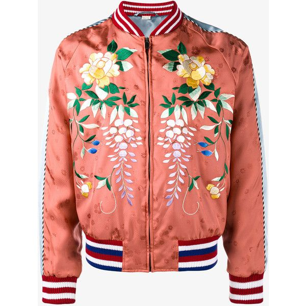 Gucci Orange Floral Embroidered bomber jacket ($2,370) ❤ liked on Polyvore featuring men's fashion, men's clothing, men's outerwear, men's jackets, jackets, dad, outerwear, mens striped jacket, mens collarless jacket and gucci mens jacket