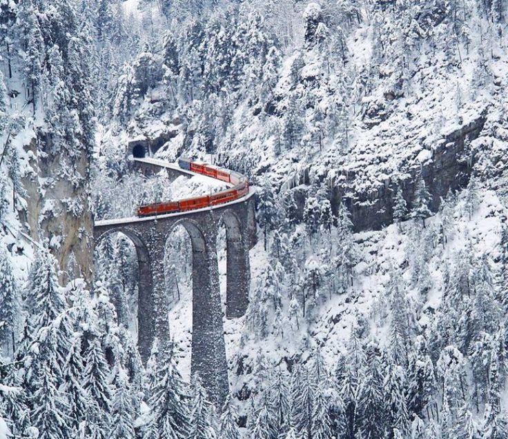 Railway in the Swiss Alps