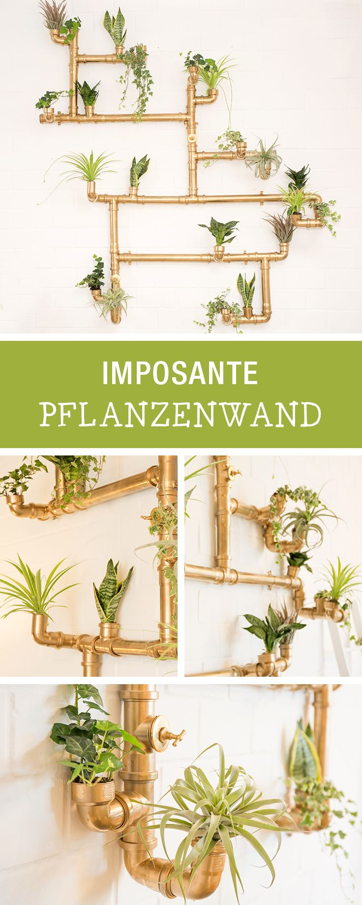 Kostenlose Anleitung für eine große Pflanzenwand aus Rohren im #Kupfer Look, #urbanjungle DIY mit #1000gutegründe / plant diy: copper pipe plant wall for your indoor jungle, #diyinspiration via DaWanda.com // #dawandaandfriends