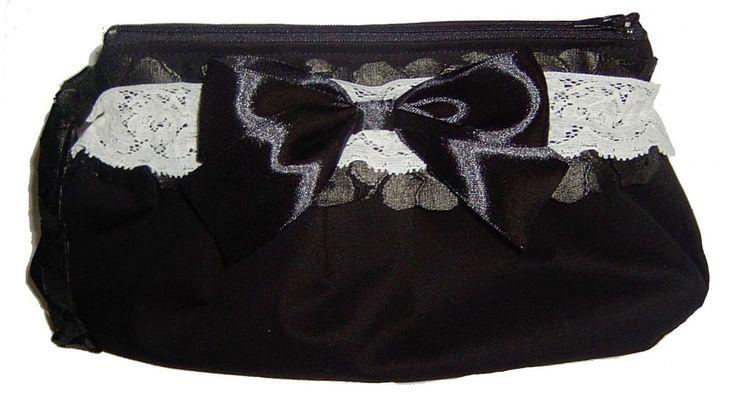 BORSA donna stoffa POCHETTE bianca nera PIZZO FIOCCO artigianale CLUTCH BAG sac
