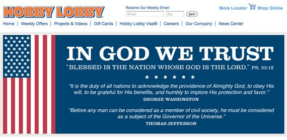 HYPOCRITES AND MORONS!! Hobby Lobby Website Proudly Displays 'Jefferson' Quote (That Actually Came from Madison, and Completely Contradicts SCOTUS Ruling)