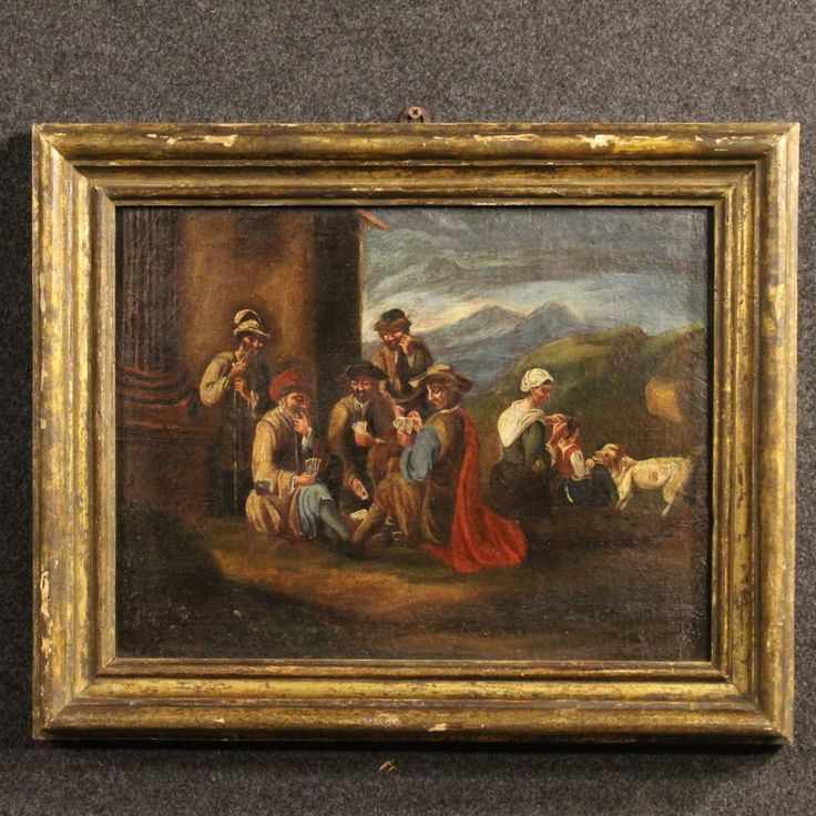 "1900€ Ancient Lombard painting ""Card Players"" of the 18th century. Visit our website www.parino.it #antiques #antiquariato #painting #art #antiquities #antiquario #canvas #oiloncanvas #landscape #quadro #dipinto #arte #tela #decorative #interiordesign #homedecoration #antiqueshop #antiquestore"