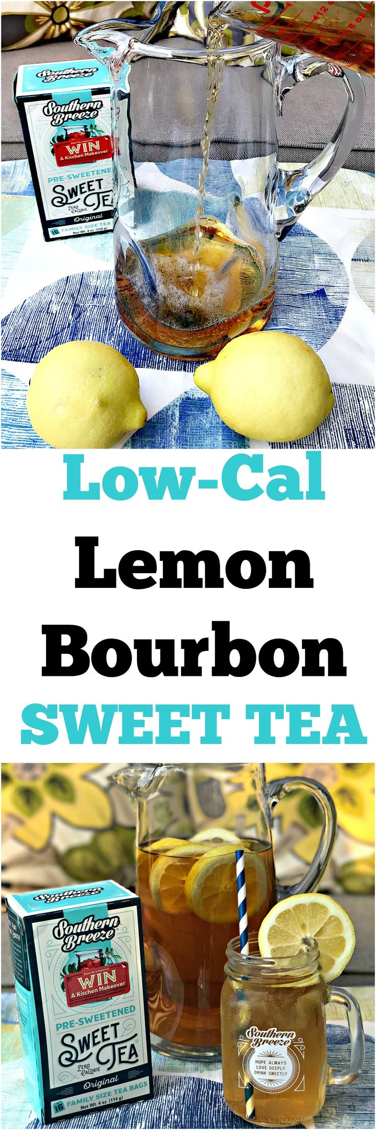 Sweet Tea Lemon Bourbon Cocktail is low-calorie and guilt-free with fresh lemon and bourbon whiskey perfect for summer gatherings and events. @sbreezetea