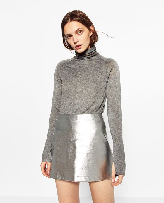 Image 2 of SHORT METALLIC SKIRT from Zara