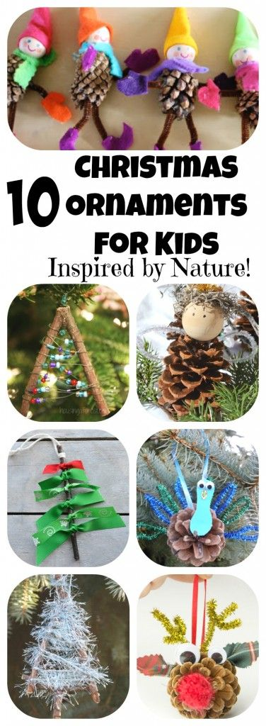 So many great ideas here! 10 Homemade Christmas Ornaments for Kids to Make: Inspired by Nature! Easy Ornaments using Twigs and Pinecones || Letters from Santa Holiday Blog!