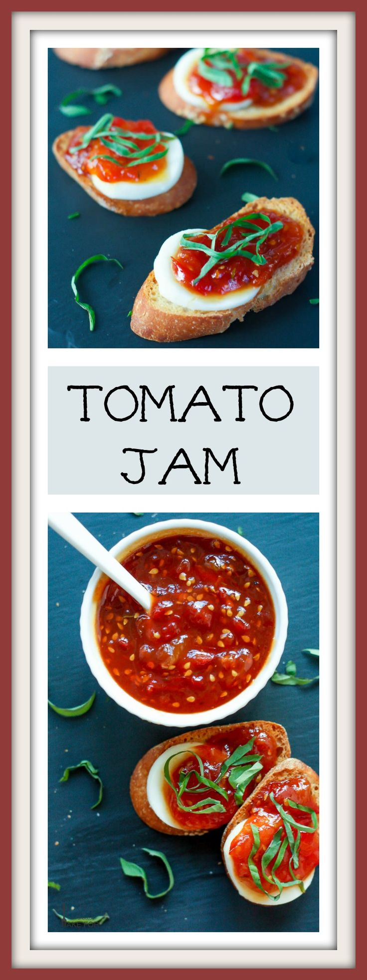 THIS TOMATO JAM IS LITTLE SWEET, A LITTLE SPICY AND TERRIFIC SERVED WITH CHEESE OR SPREAD ON A PIECE OF TOAST.