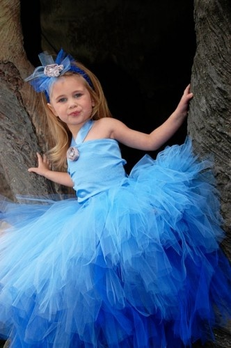 Blue Pageant Flower Girl 3 Tier Tulle Gown Ensemble with Satin Top