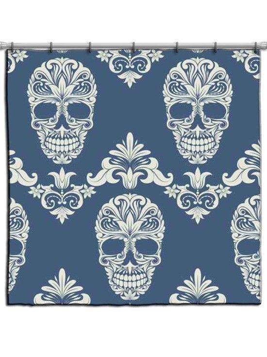 """Skull Bathroom Decor: """"Floral Sugar Skull Tattoo"""" Shower Curtain"""