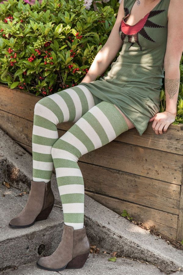 8f50cd3ac Extraordinarily Longer Striped Thigh High Socks in 2019