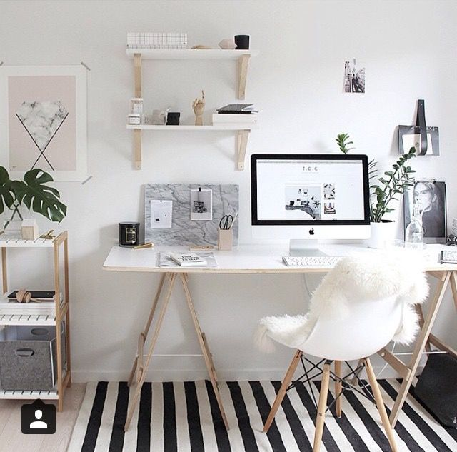 black and white striped rug & white and bright everything else